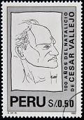 PERU - CIRCA 1992: A stamp printed in Peru shows Cesar Vallejo circa 1992