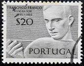 PORTUGAL - CIRCA 1955: Stamp printed in Portugal shows the sculptor Francisco Franco circa 1955