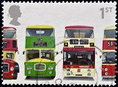 stamp shows Bristol Lodekka FSF6G Leyland Titan, Leyland Atlantean, and Daimler Fleetline