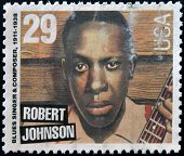 UNITED STATES OF AMERICA - CIRCA 1994: stamp printed in USA shows the blues singer Robert Johnson