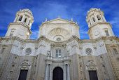 View from frontage to the cathedral of Cadiz spain.