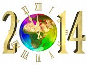 Happy new year 2014 - Europe, Asia and Africa