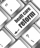 Healthy Care Reform Shown By Health Computer Keyboard Button
