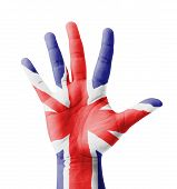 Open Hand Raised, Multi Purpose Concept, Uk flag Painted - Isolated On White Backgr