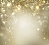 Christmas Background. Golden Holiday Abstract Glitter Defocused Background With Blinking Stars and S