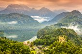 stock photo of bavarian alps  - Misty day in the Bavarian Alps near Fussen - JPG