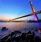 stock photo of tsing ma bridge  - Sunset at Tsing Ma Bridge - JPG