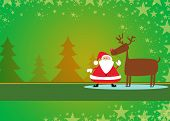 image of rudolph  - Santa and rudolph christmas background with space - JPG