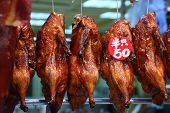 stock photo of roast duck  - Roasted Peking ducks for sale in Hong Kong - JPG