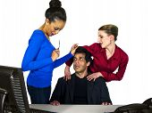 stock photo of immoral  - business people in office situations - JPG