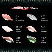 Nigiri sushi with mackerel, flounder, gizzard shad, sea bream and halfbeak