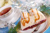 Walnut Cream Cake With Meringue And Caramel Sauce For Christmas