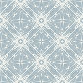 silver stars on snowy blue, vector pattern