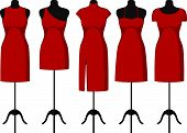 image of dress mannequin  - Different Cocktail and Evening Dresses on a mannequin - JPG