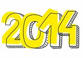 New Year 2014 vector hand drawn sign or doodle number symbol draft with yellow highlighter isolated