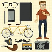 Hipster character and hipster design elements. Vector.