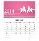 2014 calendar, monthly calendar template for February (Origami paper horse design). Vector illustrat