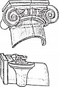 picture of ionic  - Capitals of the Ionic column architecture in two fore - JPG