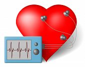 stock photo of ekg  - Red heart and cardiac monitor  - JPG