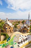 BARCELONA, SPAIN - SEPTEMBER 3: Park Guell main pavilions on September 5, 2012 in Barcelona, Spain.