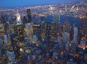 New York City Skyline East River Chrysler Building Night