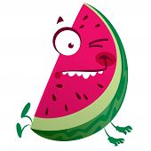 pic of crazy face  - Cartoon pink red watermelon fruit character jumping making a crazy face - JPG