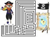 stock photo of crossed pistols  - illustration of maze easy game for children - JPG