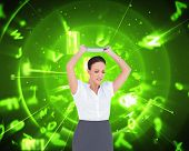 Composite image of angry businesswoman throwing her tablet pc while posing on white background