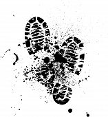 image of footprint  - Set of four pairs of shoes print - JPG
