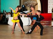 MOSCOW - OCTOBER 20: Unidentified children age 10-14 compete in latino dance on the Artistic Dance A