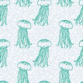 vector pattern with jellyfishes and bubbles