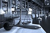 stock photo of justice law  - Symbol of law and justice in the library law and justice concept Blue tone - JPG