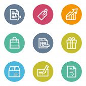 Shopping web icons set 1, color circle buttons