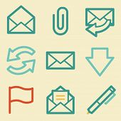 E-mail web icons, retro colors