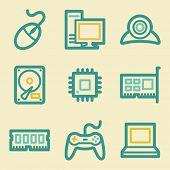 Computer web icons, retro colors