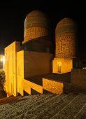 Oriental complex of buildings of Shah i Zinda at night, Samarkand, Uzbekistan