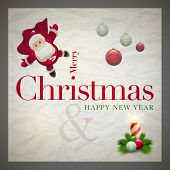 Vector retro Christmas card design template with wrinkled paper background. Elements are layered sep
