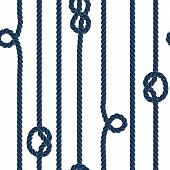 Navy blue rope with marine knots on white seamless pattern, vector