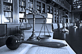 picture of jury  - Symbol of law and justice in the library law and justice concept Blue tone - JPG