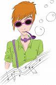 Hand drawn illustration of boy in sun glasses