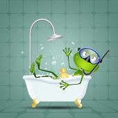 Frog In Bath With Diving Mask