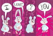 I Love You. Enamored Rabbit. Illustration