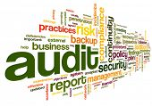foto of financial audit  - Audit and compliance  in word tag cloud on white - JPG
