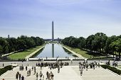 Washington Monument With Tourists And Reflections