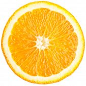 Orange slice (half) on a white background.