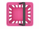 3D rendering of pink plastic shopping basket