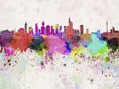Frankfurt Skyline In Watercolor Background