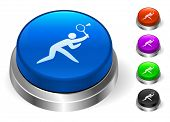 Badminton Icons on Round Button Collection
