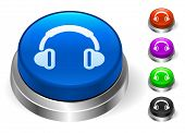 Headphone Icons on Round Button Collection