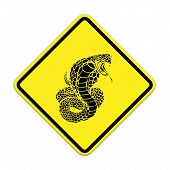 Cobra-snake  Warning Sign On The Road